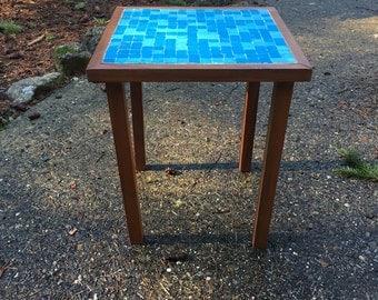 Mid Century tile and walnut table