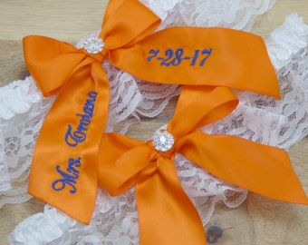 Personalized Orange Wedding Garter, Orange Bridal Garter, Embroidered Garter, Custom Garter, Garter Set, Custom Bridal Garter, Garters