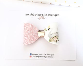 Girls hair bow. Swan hair bow. glitter hair bow, Glitter hair clip. Easter hair bow. Choice of clip or Baby headband