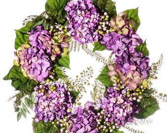 Simply Purple Hydrangea and Berry Wreath (SW991)