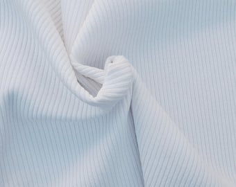 HEAVY WEIGHT White 4x4 Rib Cotton Spandex Fabric by Yard 24OZ. 12/16