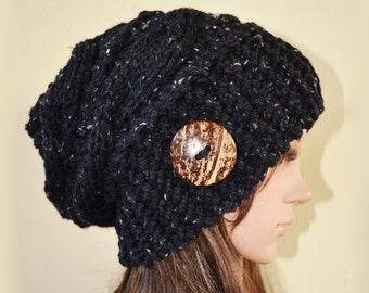 Slouchy cable pattern beanie hat - BLACK Tweed with button - womens Winter Autumn accessories