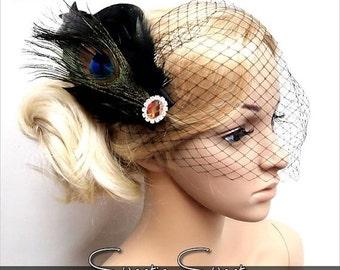 SALE Wedding Bridal Hair Comb, Birdcage veil, feather hair comb, feather Fascinator, Gatsby Flapper Hair Comb Headpiece, 1920s wedding headp