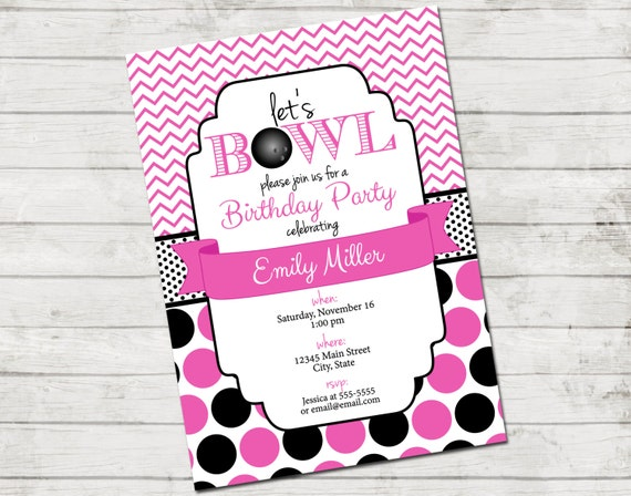 bowling party invitation let s bowl bowling birthday party