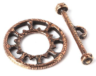 Bronze round toggle clasp 3412(1), disc, wheel, jewelry findings, steampunk, mechanism. Designed and made by Anna Bronze