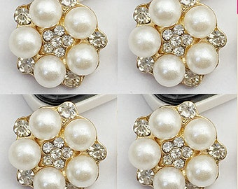 4 Flat Back Rhinestone and Pearl Button (15 mm) DT-307