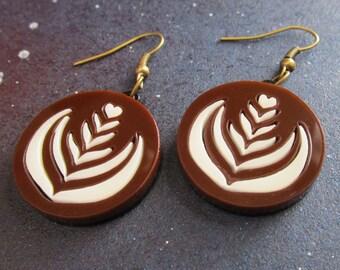 Coffee Milk Foam Art Laser Cut Acrylic Dangle Earrings Latte, Leaf, Barista Fashion