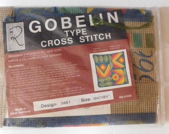 vintage GOBELIN KIT West Germany 1970's pillow kit 13 x 13 printed canvas wool yarn