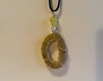 Wire Wrapped Brown Agate Necklace Pendant
