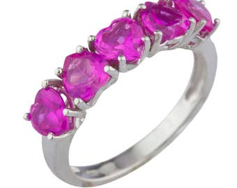 5 Hearts Pink Sapphire Heart Ring .925 Sterling Silver Rhodium Finish