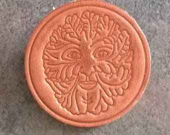 Handmade Leather Badge/Brooch/Pin Greenman/Green Man