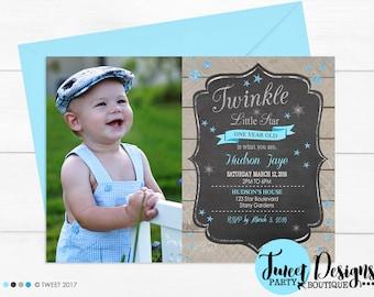 Twinkle Little Star PHOTO Invitation, 1st Birthday invitation, Boy 1st Birthday invitation, Star Invitation, Boy First Birthday Invitation