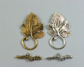 Toggle Clasps Grape Vine Leaf Clasps, Your Choice of Antique Silver and/or Antique Gold 4 Sets