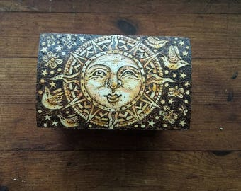 Sun Worship, Original Wood Burnt, Pyrography Box