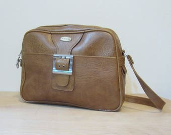 Vintage Faux Leather Luggage, Carry On Overnight Sized Tan Bag with Shoulder Strap. Circa 1980s by Meridian.