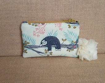 Sloth Coin Purse / Zip pouch / Change Purse / Business Card Holder