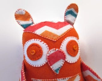 Owl - Orange Chevron