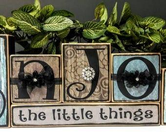 Enjoy the Little Things Handmade Wood Blocks