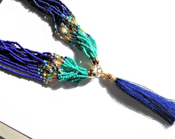 Tassel Necklace with Cobalt Blue Tassel / Multi Strand Beaded Necklace / Turquoise & Cobalt Blue Seed Bead Necklace / Bohemian Necklace