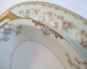 Vintage Mismatched China Serving Pieces, Oval Serving Platter, Oval Vegetable Serving Bowl - Set of 2