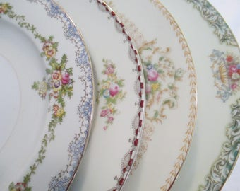 Vintage Mismatched China Dinner Plates for Easter, Wedding,Bridal Luncheon,Showers,Hostess Gift,Bridesmaid Gift,-Set of 4