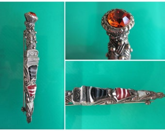 Miracle Scottish Dirk / Dagger Brooch Faux Agate Amber Rhinestone Celtic Brooch Kilt Pin Gift for Her