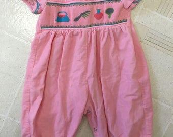 Pink Vintage Style Baby Girl Romper