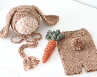 Newborn rabbit – Baby props – Newborn set – Photo props – Baby boy rabbit – Newborn hat – Newborn props – Baby boy props - Easter hat -Brown