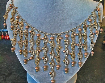Copper Brass bib necklace