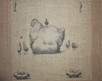 Chicken with Chick's Burlap Picture
