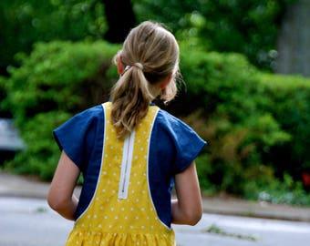 Girls dress in contrasting fabrics - - full twirly dress - yellow dress - piping details