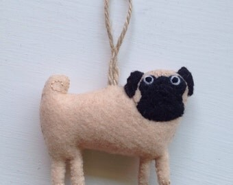 Hanging pug dog decoration