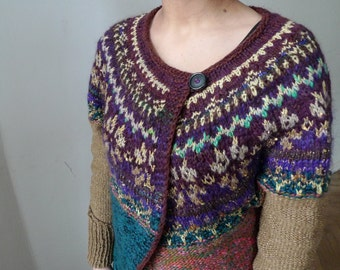 Handmade Icelandic style wool cardigan with Latvian pattern and golden yarn