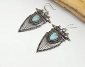 Silver Turquoise Tribal Earrings - Silver Earrings - Turquoise Earrings - Tribal Earrings