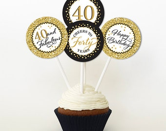 40th Birthday Cupcake Toppers, Gold Glitter and Black, Favor Tags, PRINTABLE, 2 Inch