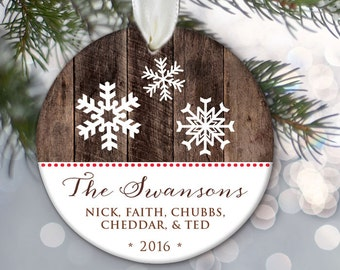 Personalized family ornament, Snowflake family personalized ornament Custom Christmas Ornament Snowflake Gift, Faux wood, Names & Year OR317