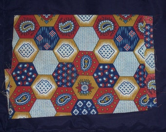 Funky fabric remnant,vintage honeycomb pattern,craft fabric