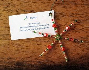 Red and Green Beaded Snowfake Ornmaent