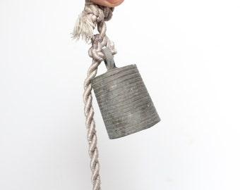 Vintage hanging bells on a string - set of three / Rustic Bells / Metal Bells on a String / Vintage Rustic Hanging Bells