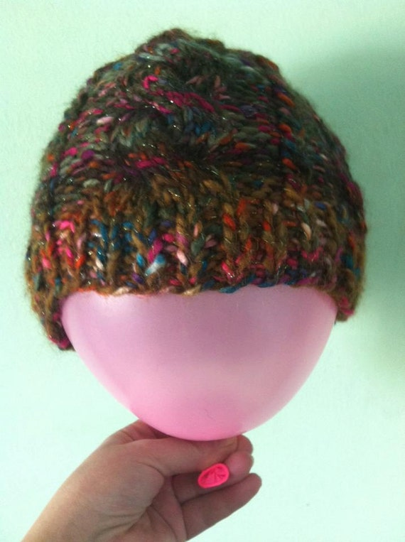 Messy Chunky Beach Waves Easy Tutorial: Ponitail Hat Bun Hat Hand Knitted Chunky Wool Messy Hat