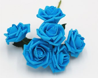 Turquoise Wedding Flowers Artificial Malibu Roses For Wedding Centerpieces  Bridal Bouquet Decoration 12 Bunches Turqoise Flowers