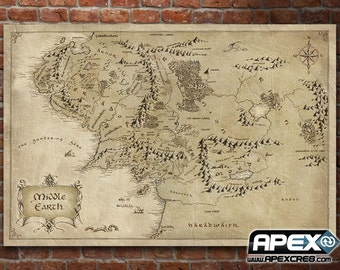 Map Middle Earth - Lord of the Rings Hobbit - Stunning Canvas Print! - Sizes small to Large