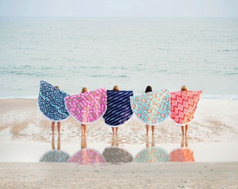 In Stock Now! Bright and colorful  Circle Beach Towel/blanket.  Personalized FREE just for you.
