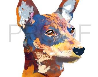 miniature pinscher || minpin || min pin || Goliath the MinPin || miniature pinscher art || dog art || watercolor dog art || watercolor dog