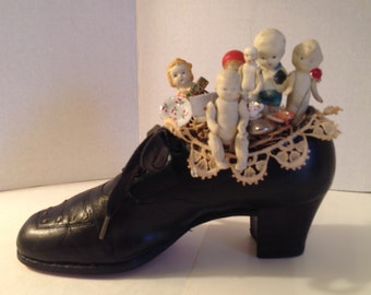FANTASTIC Group of 6 Antique Miniature China Dolls Displayed in an Antique Ladies Black Leather Shoe