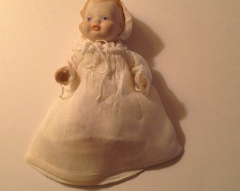 """Bisque Baby Doll Vintage Porcelain 5"""" Wire and String Jointed Dressed Doll Marked Japan"""