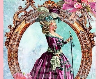 Framed Marie Antoinette Fabric Block Crafts Pillows Totes Purses Wall Decor NMA6
