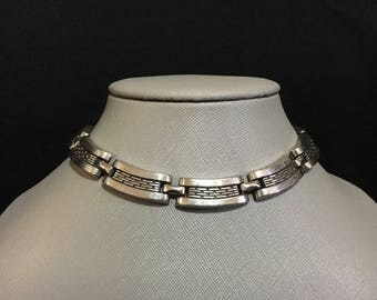 Vintage Geometric Curved Link Stainless Steel Choker (JT5)