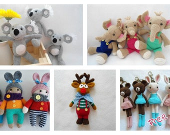 Amigurumi annimals crochet patterns + Free bagcharm pattern