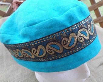 Aqua Teal 100% Linen Migba'ah Turban Cap with Matching Ribbon Trim